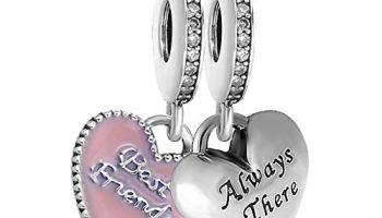 ec8dde081 Romántico Amor fit Pandora Bracelets 2 PCS Best Friends BFF Dangle Charm  Heart Sliver Beads (