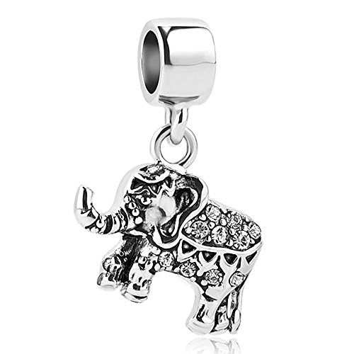 Sterling Silver 7 4.5mm Charm Bracelet With Attached Mini African Elephant Head Charm