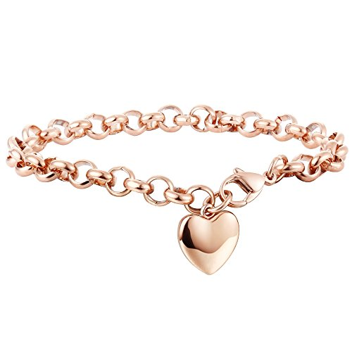 Stainless Steel Gold Color Plated Love Monogram Ball Circle Charm Link Chain Bracelet// Anklet