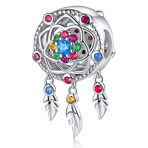 Queen Area Dream Catcher Necklace Ink Paiting Pendant Dangling Feather Tassel Bead Charm Chain Jewelry for Women