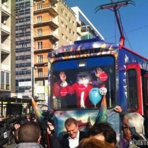 Babbo Natale a bordo del tram