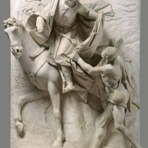 San Martino e il povero, scultura del Bernini