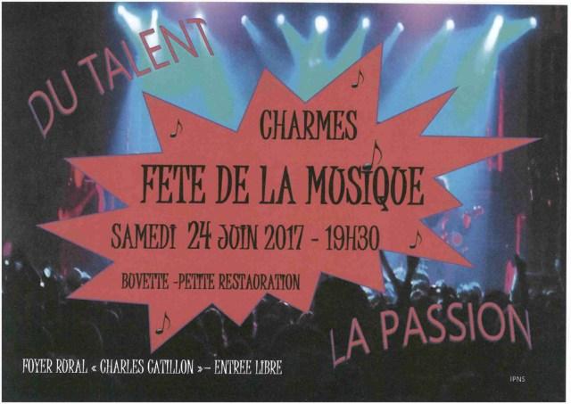 Fête de la musique à Charmes samedi 24 juin 2017 - 19h30 Foyer Rural Charles CATILLON - Entrée libre