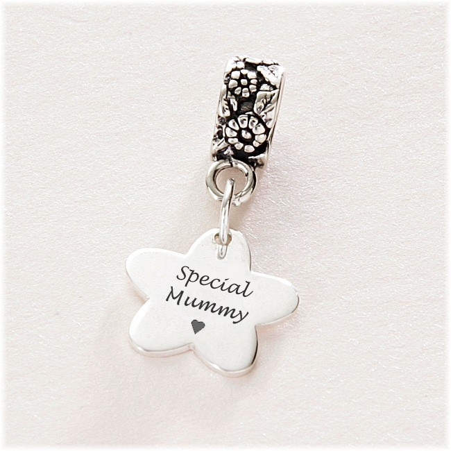 Special Mummy Flower Charm Sterling Silver Fits Pandora