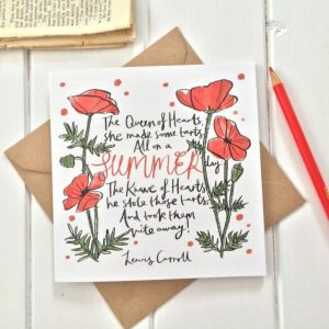 Christmas Gift Card With Alice In Wonderland Text