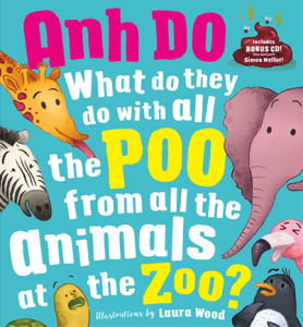 Cover image shows zoo animals and words 'What do they do with all the poo from all the animals at the zoo?'