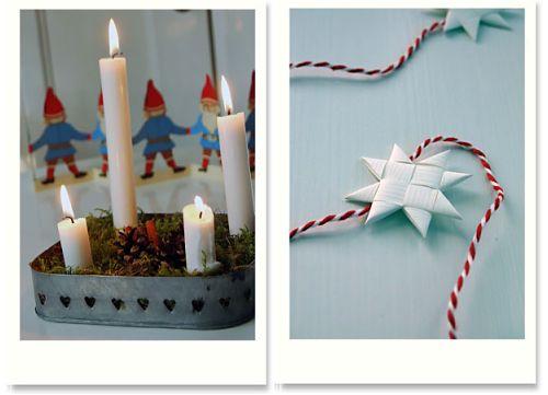 Adventsgesteck und Papierstern