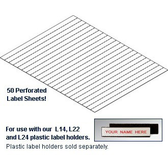 Label Inserts 1,000 Label Tabs and Instruction Sheet for 1