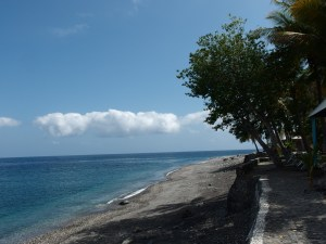 The beach in front of the resort and restaurant