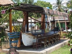 A re-purposed boat..very cool