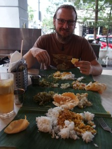 This vegetarian feast was served on banana leaves