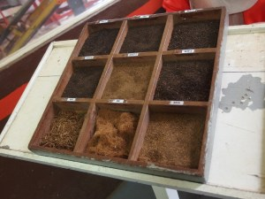 Different products: Grade 1 and 2 teas, tiny particles for teabags and the last row is only used for fertilization