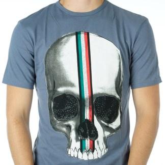 Ricardi trendy heren skull T-Shirt met steentjes - R808 Antraciet