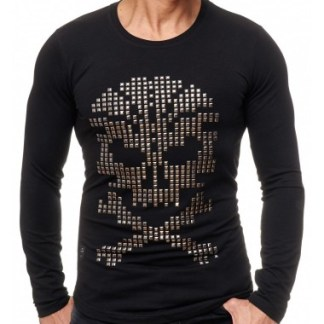 Red Bridge trendy heren skull sweatshirt met studs - R120 Zwart