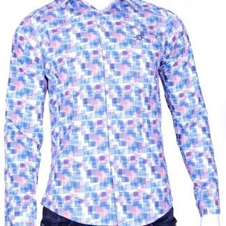 Ferlucci trendy slim fit geblokten heren overhemd met funky dessin - F343 Blauw