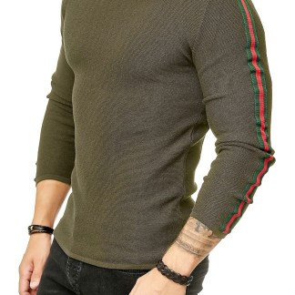 Red Bridge trendy rondehals dunne heren pullover, R387 Khaki