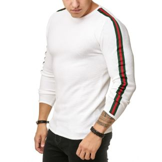 Red Bridge trendy rondehals dunne heren pullover, R387 Wit