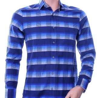 Gabano trendy modern fit allover gekleurde blokken dessin heren overhemd, G119 Navy