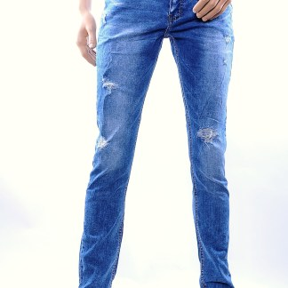 TF Boys trendy damaged heren skinny jeans, T026 Blauw