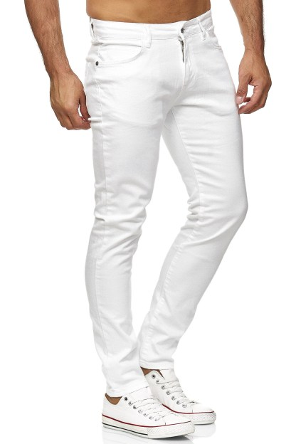Red Bridge trendy effen witte kleur slim fit heren skinny jeans, R224 Wit