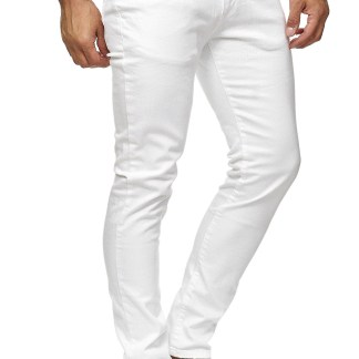 Red Bridge trendy effen witte kleur slim fit heren skinny jeans, R224 Wit