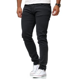 Red Bridge trendy effen zwarte kleur slim fit heren skinny jeans, R224 Zwart