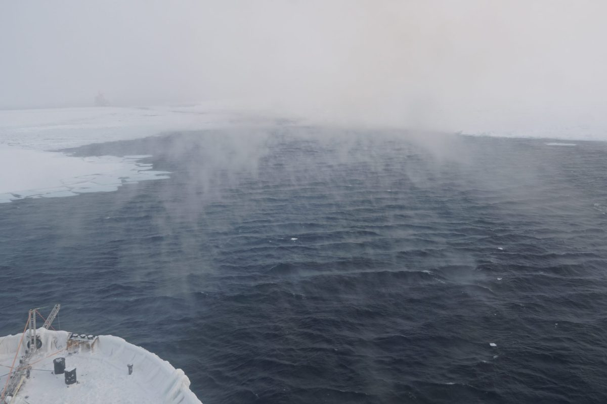 Open water and sea ice from the deck of an icebreaker