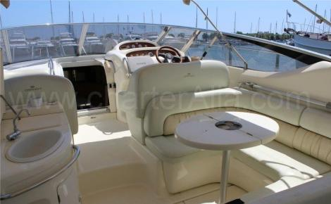 On the rear seats Cranchi Endurance 39 of boat for hire in Ibiza