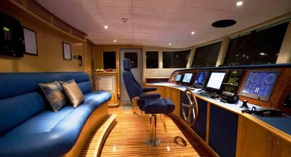 Luxury Yacht Charter Platinum Wheelhouse Traditional Timbers