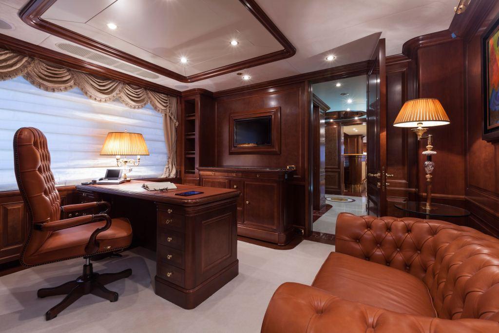 Superyacht PRIDE  Master Cabin Office  Luxury Yacht
