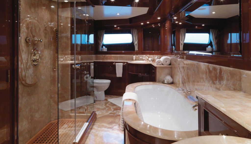 Yacht ENCHANTRESS  Master Bathroom  Luxury Yacht Browser