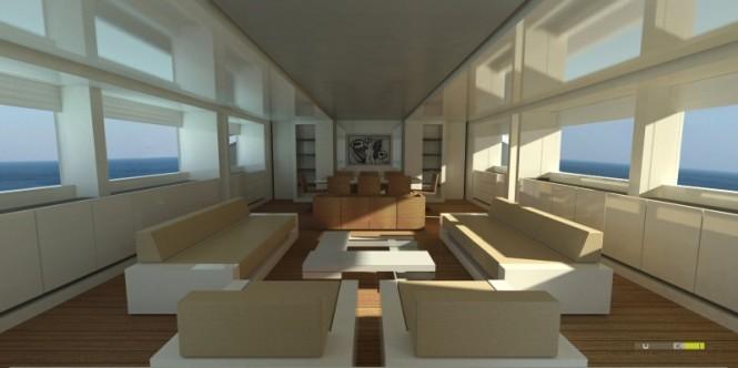 42m Blue Navy motor yacht by UKI Design
