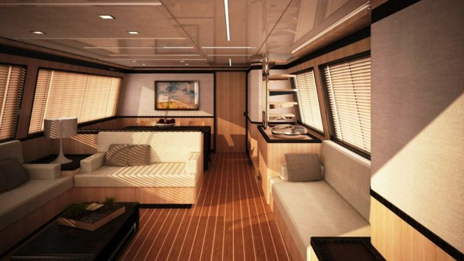 The 24 m Daewoo motor yacht designed by Andrea Borzelli Yacht Design - saloon