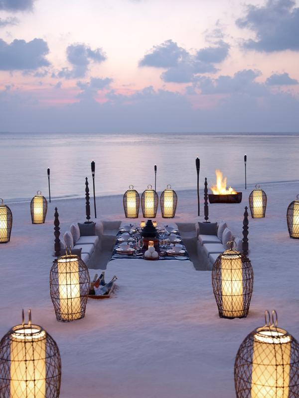 Dusit Thani Maldives beach pit dining