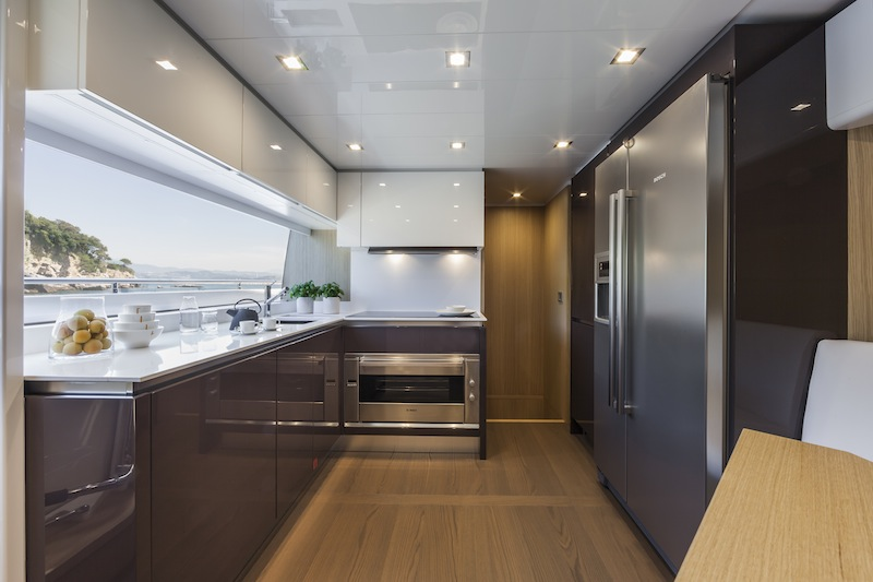 how to design a kitchen layout lights under cabinets ferretti 960 yacht - galley — charter & superyacht news