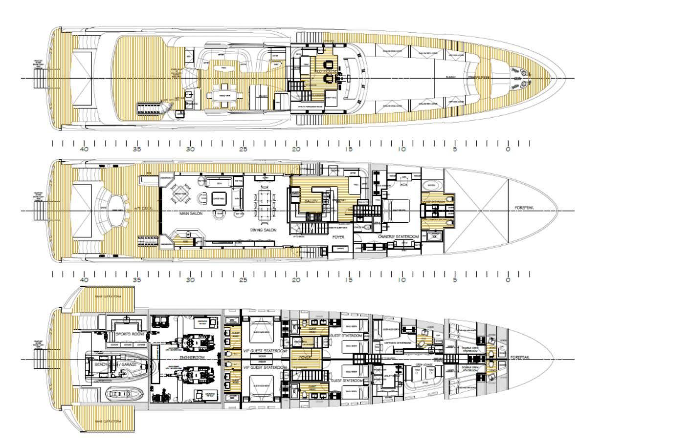 Burger 128 Yacht Concept General Arrangement Yacht