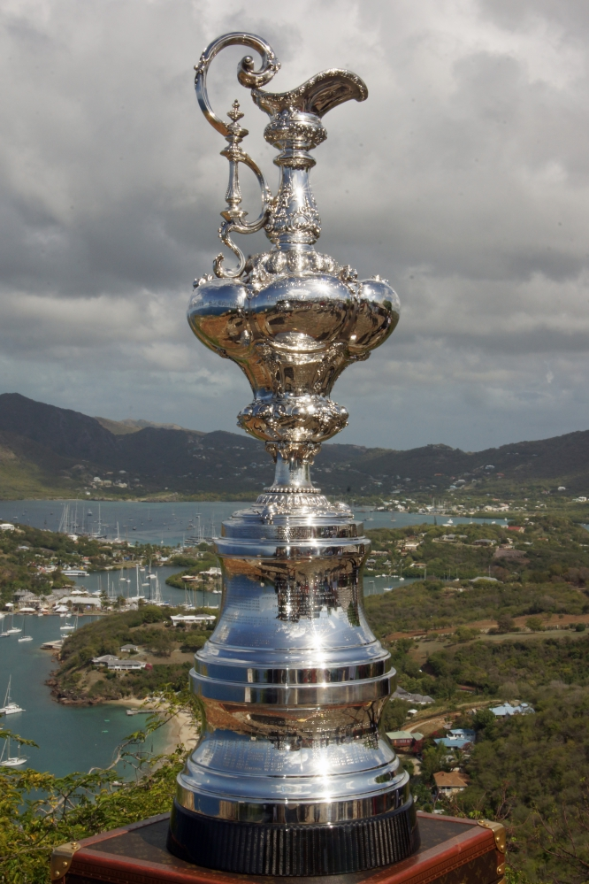 The Americas Cup Trophy On Display At Shirley Heights