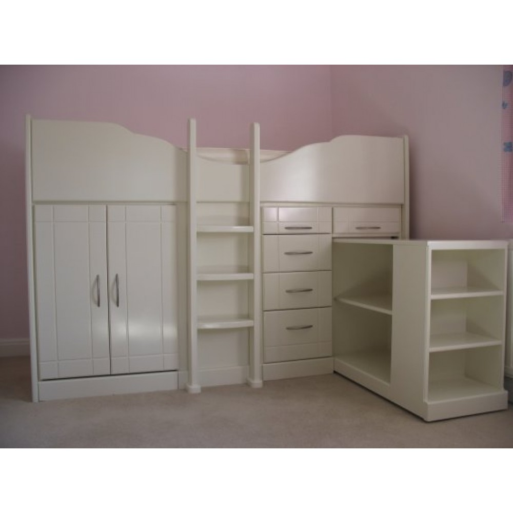 High Sleeper Cabin Bed Storage Bed With PullOut Bookcase