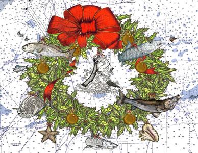 Backcountry Fishing Theme Christmas Cards