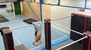 Chase Armitage Parkour professional training in the gym clip 2