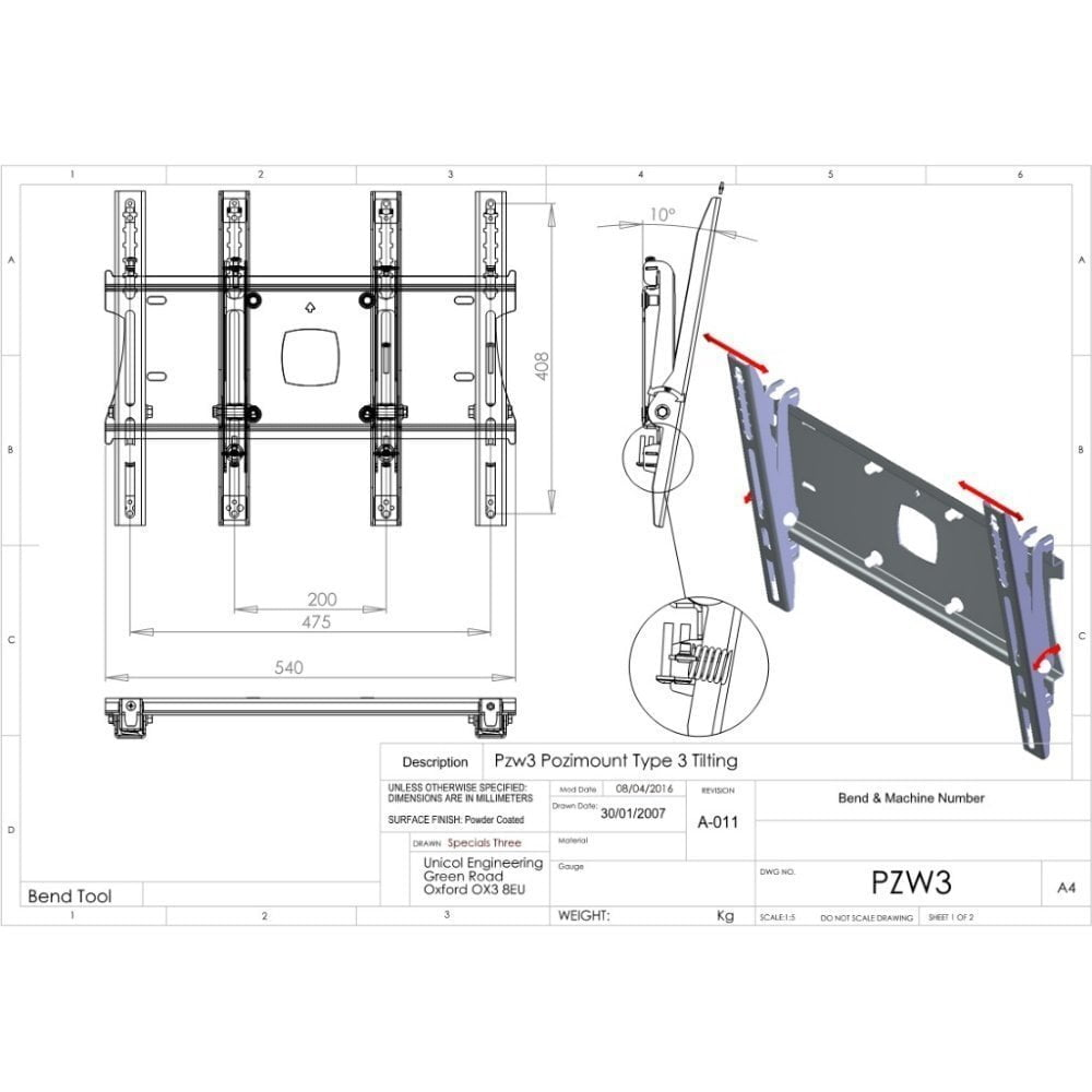 Unicol tilting TV bracket PZW3 With Best Price & Free Shipping