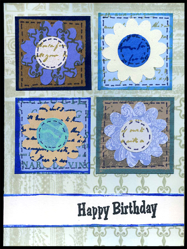Flowered Card in Shades of Blue