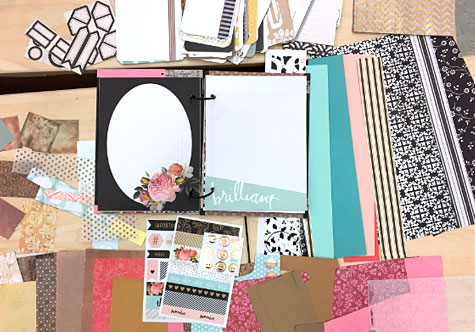 Heidi Swapp journaling pages and stickers.