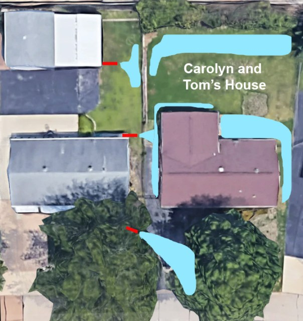 Location of three of the four drainage pipes aimed at our yard with water collection areas indicated from before we started work.