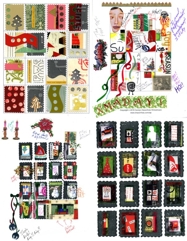 Developing four Christmas themed stamp sheets