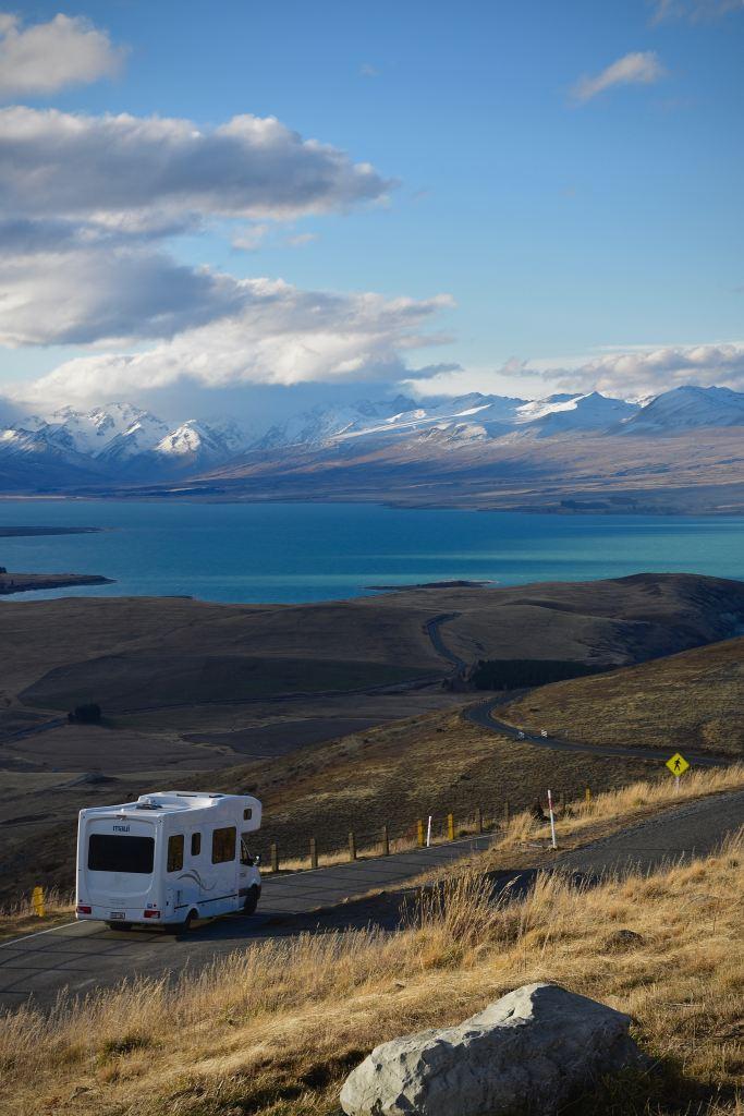 RV driving mountainous road