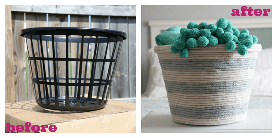 A before and after shot of an empty basket to a rope basket.