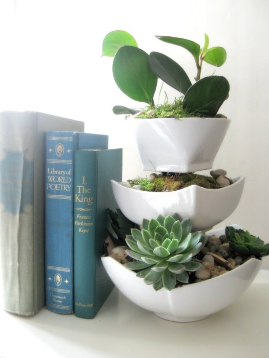 A three-tiered dollar store bowl planter with succulents inside.
