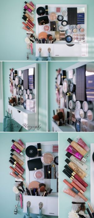 A magnetic board holding lots of makeup products.
