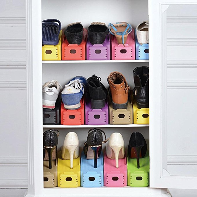 Double Your Shoe Storage Space With This Shoe Space Saver. It Keeps Your  Shoes Neatly Organized And Makes It Easy For You To Grab A Pair.